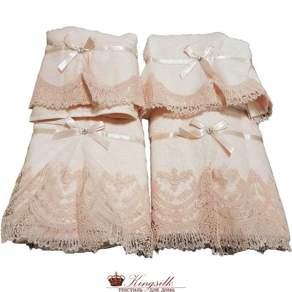 Набор полотенец Vevien Pol-71-1 Бамбук розовый с кружевом - фото 30494