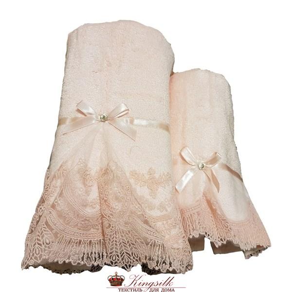 Набор полотенец Vevien Pol-71-1 Бамбук розовый с кружевом - фото 30495