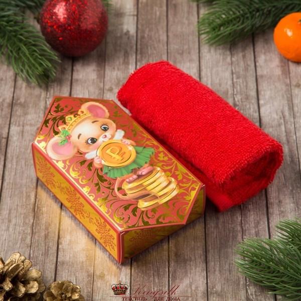 Полотенце Этель Мышка (конфета) красное - фото 32975