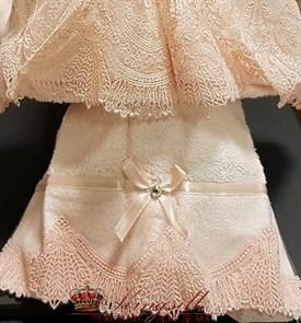 Набор полотенец Vevien Pol-71-1 Бамбук розовый с кружевом - фото 30496